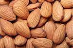 Peeled almonds close-up