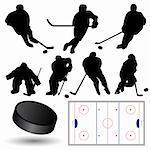 vector set of ice hockey players