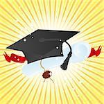 Education theme: graduate hat and diploma