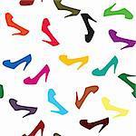 Fond avec des chaussures colorées