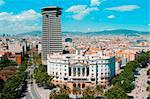 Aerial view Drassanes Avenue and La Rambla of Barcelona, Spain