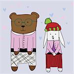 Cartoon illustration of sweet bears in love