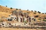 Ruins of columns in ancient city of Ephesus, Turkey