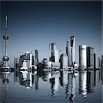 Wide angle view of Shanghai, China skyline.the landmark of shanghai.