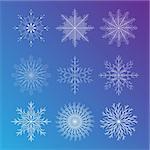 A set of six symmetric blue snowflakes