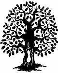 Oak tree silhouette - vector illustration.