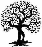 Spring tree silhouette - vector illustration.