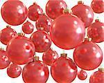 Background of red christmas shiny balls isolated on white background