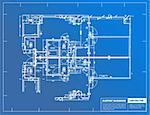 Sample of architectural blueprints over a blue background / Blueprint