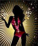 Glamorous showgirl silhouette