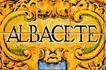 a Albacete sign writen in mosaic tiles, Spain