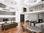 Interior of modern apartment living room 3d render