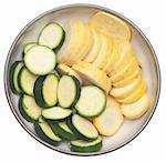 Bowl Fresh of Sliced Squash and Zucchini Food Image.