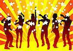 Vector image of young people. Dancing in nightclub