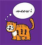 Cat kitty tiger cartoon funny vector illustration