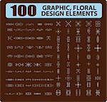 100 Graphic, floral, tattoo design elements books, cards decor ornament