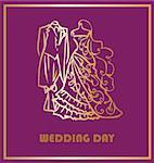 Fashion Wedding card. Gold couple on background
