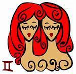 Zodiac signs, icons - gemini, Beauty Woman symbol