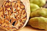 Nutmeg and cardamon detailed macro.