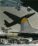 Le Musée de l'Air américaine, Duxford, Cambridgeshire, 1987-1997. Architectes : Foster and Partners