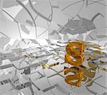 cubes background and golden letter s - 3d illustration