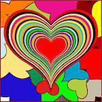 retro hearts, vector art illustration