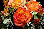 closeup of vibrant orange roses flower bouquet