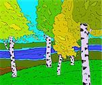 River in a birch forest in autumn