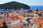 Dubrovnik old town and Lokrum island on the Adriatic Sea in Croatia