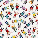 cartoon hip hop boy dancing seamless pattern