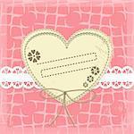 Vintage Frame Design For Greeting Card on lace grange background