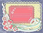 Vintage flower Frame Design For Greeting Card on lace grange background