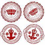 Collection grunge Yoga stamps, element for design, vector illustration