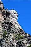 Profile view of Mount Rushmore National Memorial in the Black Hills of South Dakota.
