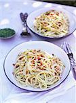 Spaghetti pasta with pesto sauce on plates