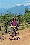 Beautiful brunette cycling