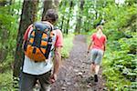 Couple Hiking, Columbia River Gorge, near Portland, Oregon, USA
