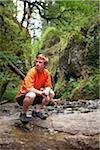 Man Hiking, Oneonta Gorge, Oregon, USA