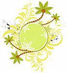 Grunge paint flower summer frame with palm tree, element for design, vector illustration