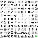 121 vector pictograms. Black-and-white contour. Set 4.