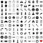 121 vector pictograms. Black-and-white contour. Set 1.