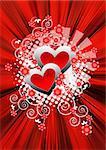 Grunge Valentine card on red