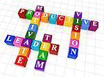 3d colour boxes crossword - motivate, leader, team, productive, vision
