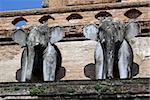 Elephants on Chedi Luang, Chiang Mai, Thailand