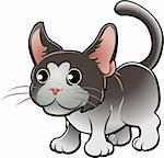 A Vector Illustration of a Cute Domestic Cat