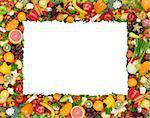 Obst und Gemüse Frame isoliert auf weiss