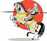 Illustration of a knight on horseback isolated on white