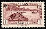 vintage African stamp from Gabon depicting native worker on logging raft on the Ogooue river