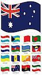 Vector Flag Collection. Luxemburg, bahamas, bahrain, bangladesh, netherlands, holland, azerbaijan, aruba, antigua, ukraine, barbados, bhutan, bermuda, bulgaria, australia, angola, iran
