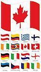 Vector Flag Collection. Austria, ecuador, greece, finland, ivory cost, swaziland, canada, switzerland, germany, Deutschland, italy, paraguay, england, estonia, czechoslovakia, romania, ireland